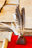 Feathers and inkpot Royalty Free Stock Photography