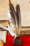 Feathers and inkpot Royalty Free Stock Photo
