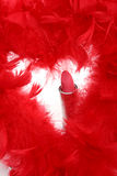 Feathers and  lipstick Stock Photo