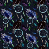 Feathers, owl bird, dreamcatcher, black background. Repeating pattern. Watercolor stock illustration