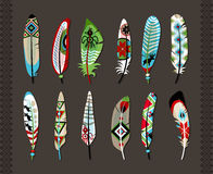 Feathers painted with colorful ethnic pattern Stock Image