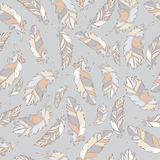 Feathers pattern hand draw. Bird hand draw pattern pastel Stock Images