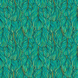 Feathers pattern. Seamless pattern with hand-drawn green feathers Stock Images
