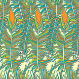 Feathers pattern. Set of three hand-drawn  feathers Royalty Free Stock Image