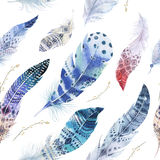 Feathers pattern. Watercolor elegant background. Watercolour col. Or organic design print. Seamless repeating colour boho texture with hand drawn chic wallpaper Royalty Free Stock Photo