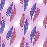 Feathers on pink seamless Royalty Free Stock Images