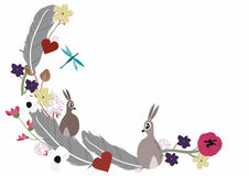 Feathers and rabbits Stock Photos