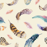 Feathers repeating pattern. Watercolor background with seamless Stock Photography