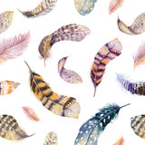 Feathers repeating pattern. Watercolor background with seamless Stock Photos