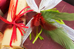 Feathers and ribbons Royalty Free Stock Image