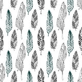 Feathers seamless pattern in ethnic style. Hand drawn zentangle doodle ornament pattern with vector feather stock image