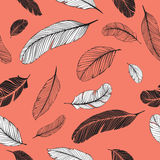 Feathers seamless pattern. Seamless texture with black and white feathers stock illustration