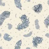 Feathers. Seamless pattern Stock Photos