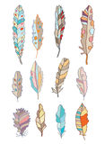 Feathers set with different patterns. And stains Royalty Free Stock Photography