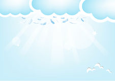 Feathers from the sky.,Blue Valentine's Day. Background Royalty Free Illustration