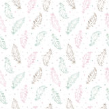 Feathers and specks boho style seamless vector pattern. Hand drawn feathers and specks, flecks, blobs seamless vector pattern. Boho style simple background. Tiny Royalty Free Stock Images