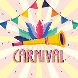 Feathers with trumpet and party banner to carnival. Vector illustration royalty free illustration