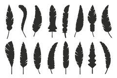 Feathers vector black and white silhouette Stock Photos