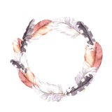 Feathers. Vintage wreath border, boho style. Watercolor Stock Photo