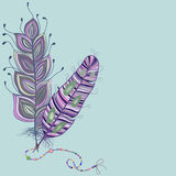 Feathers whit beads. Royalty Free Stock Images
