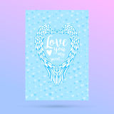Feathers and wings frame in heart shape, card for Valentines Day design. Stock Photos