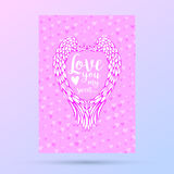 Feathers and wings frame in heart shape, card for Valentines Day design. Stock Images