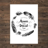 Feathers wreath and save the date type design Stock Photo