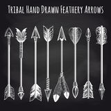 Feathery arrows collection on chalkboard. Hand drawn feathery arrows collection on chalkboard background. Vector illustration stock photos