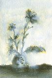 Feathery Blue Flowers in Vase. Watercolor painting of Flowers in a vase Stock Image
