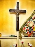 Feature domestic crucifixes. Artistic look in vintage vivid colours. Royalty Free Stock Images