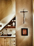 Feature domestic crucifixes. Artistic look in vintage vivid colours. Stock Photography