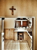 Feature domestic crucifixes. Artistic look in vintage vivid colours. Royalty Free Stock Photo
