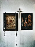 Feature domestic crucifixes. Artistic look in vintage vivid colours. Royalty Free Stock Image