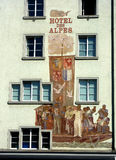 Feature facade of Swiss hotel Stock Image