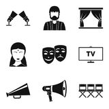 Feature film icons set, simple style. Feature film icons set. Simple set of 9 feature film vector icons for web isolated on white background Royalty Free Stock Image