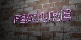 FEATURE - Glowing Neon Sign on stonework wall - 3D rendered royalty free stock illustration. Can be used for online banner ads and direct mailers Royalty Free Stock Photo