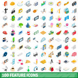 100 feature icons set, isometric 3d style Stock Photo