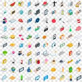 100 feature icons set, isometric 3d style Stock Images