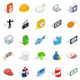 Feature icons set, isometric style. Feature icons set. Isometric set of 25 feature vector icons for web isolated on white background Royalty Free Stock Image