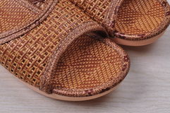 Feature of a pair of cany slippers. Well-made cany slippers for home. it is suitable for summer Royalty Free Stock Image