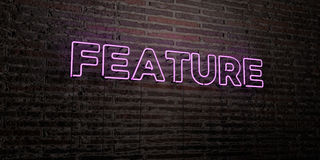 FEATURE -Realistic Neon Sign on Brick Wall background - 3D rendered royalty free stock image. Can be used for online banner ads and direct mailers Stock Photos