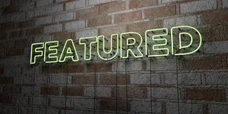 FEATURED - Glowing Neon Sign on stonework wall - 3D rendered royalty free stock illustration. Can be used for online banner ads and direct mailers Royalty Free Stock Image