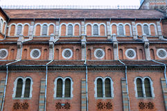 Featured pattern of Saigon Church, VietNam. Part of famous Saigon Catholic church in Ho Chi Minh City, VietNam, made in red brick, shown as featured pattern and Stock Images