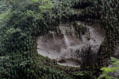 Featured rock like footprint of huge animal. As detail landscape, in Taining geological park, China Stock Images