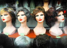 Featured wigs. In a shop Stock Images
