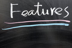 Features. Word written on the chalkboard Royalty Free Stock Image