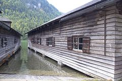 Features of the architectural construction of residential buildings in the Berchtesgaden National Park, on lake königsee in Germa. Ny, photo from September 27 royalty free stock photo