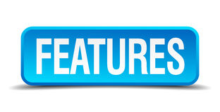 Features blue 3d realistic square button Royalty Free Stock Photography