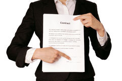 Features of the contract Stock Image