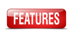Features Red Square 3d Realistic Isolated  Button